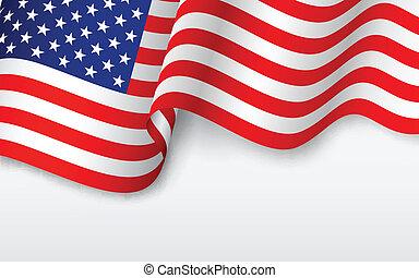 norteamericano, ondulado, bandera