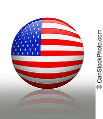 norteamericano, orbe, bandera
