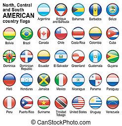 norteamericano, país, banderas