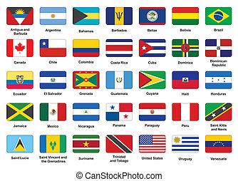 norteamericano, países, bandera, iconos