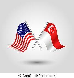 norteamericano, palos, estados, vector, dos, símbolo, plata, singapur, -, singaporean, unido, banderas, américa, cruzado