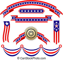 norteamericano, patriótico, cintas