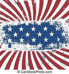 norteamericano, patriótico, vendimia, fondo., vector, eps10