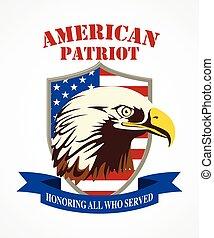 norteamericano, patriota, escudo de armas