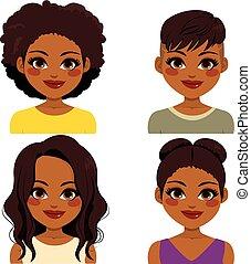 norteamericano, peinado, africano