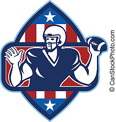 norteamericano, pelota, tiro, quarterback del balompié