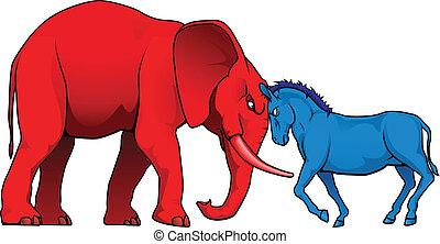 norteamericano, político, partidos, enfrentamiento