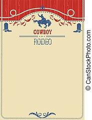 norteamericano, poster., rodeo, vaquero