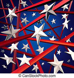 norteamericano, rayas, estrellas