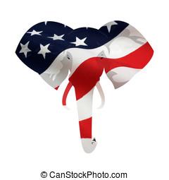 norteamericano, republicano, elefante, símbolo