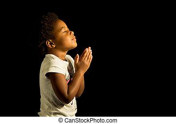 norteamericano, rezando, niña, africano