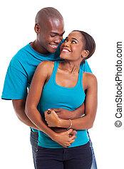 norteamericano, se abrazar, afro, pareja, joven