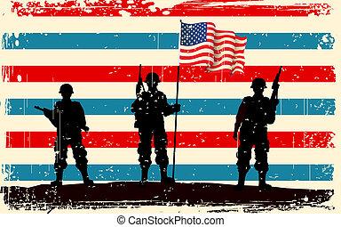 norteamericano, soldado, posición, con, bandera estadounidense