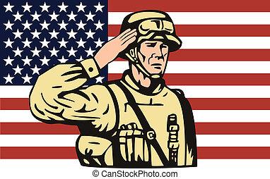 norteamericano, soldado, saludar, bandera, espalda