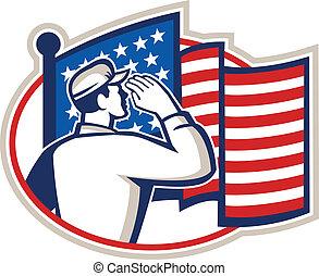 norteamericano, soldado, saludo, bandera, retro