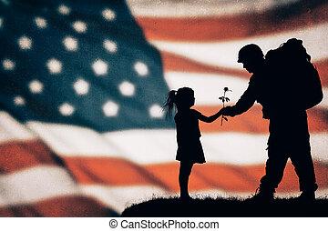 norteamericano, soldado, silueta