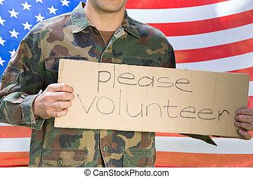 norteamericano, soldado, tenencia, reclutamiento, señal