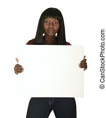 norteamericano, tabla, tenencia, africano, niña, blanco