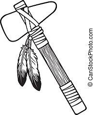 norteamericano, tomahawk, nativo