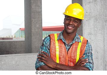 norteamericano, trabajador construcción, africano