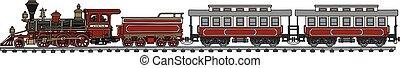 norteamericano, tren, viejo, vapor