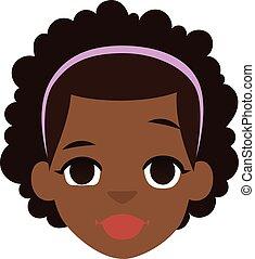 norteamericano, vector, afro, niña, illustration.
