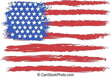 norteamericano, vector, grunge, bandera