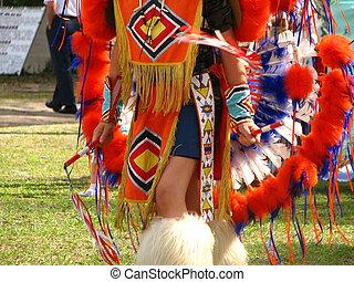 norteamericano, vestido, nativo