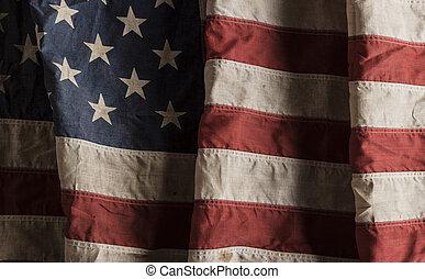 norteamericano, viejo, bandera, usado