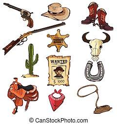 norteamericano, viejo, occidental, iconos