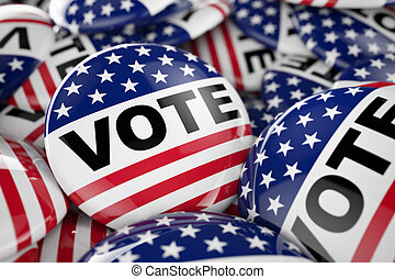 norteamericano, voto, botón