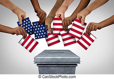 norteamericano, voto, comunidad