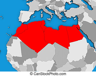 North Africa on 3D map