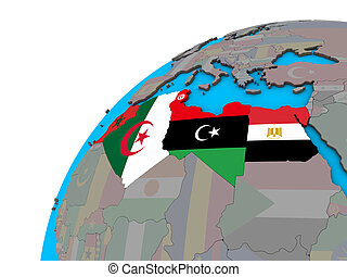 North Africa with flags on 3D globe