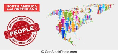 North America and Greenland Map Population Demographics and Corroded Stamp Seal