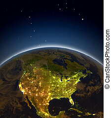 North America at night from Earth's orbit in space. 3D...