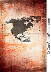 North  America at the grunge  background.