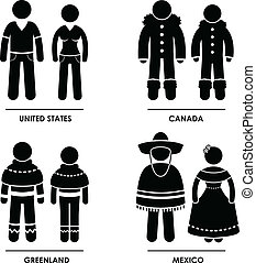 North America Clothing Costume - A set of pictograms...