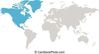 Simple World Map Flat. North America continent blue marked in grey silhouette of World map  Simple flat vector illustration Asia world eps