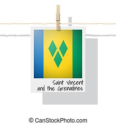 North America continent flag collection with photo of Saint...