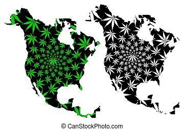 North America continent - map is designed cannabis leaf