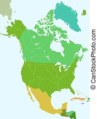 North America countries - Silhouette map of the North...