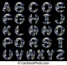 North America Earth globe alphabet on black illustration