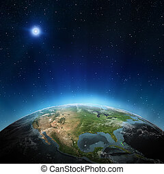 North America. Elements of this image furnished by NASA