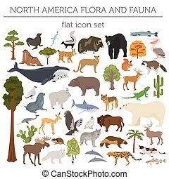 North America flora and fauna flat elements. Animals, birds...