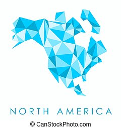 Blue map of North America. Low-poly style triangles.