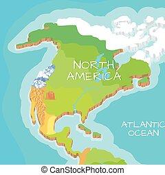 North America Mainland Vector Cartoon Relief Map