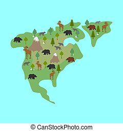 North America map flora and fauna. Animals and plants on...