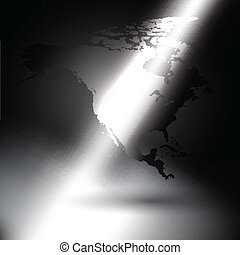 North america map in the rays of light background
