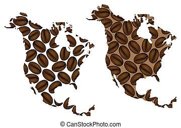 North America map - North America - map of coffee bean,...